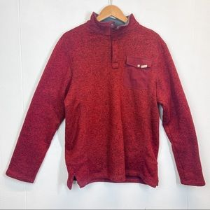 Woolrich Red Quarter Snap Pullover Knit Sweater L